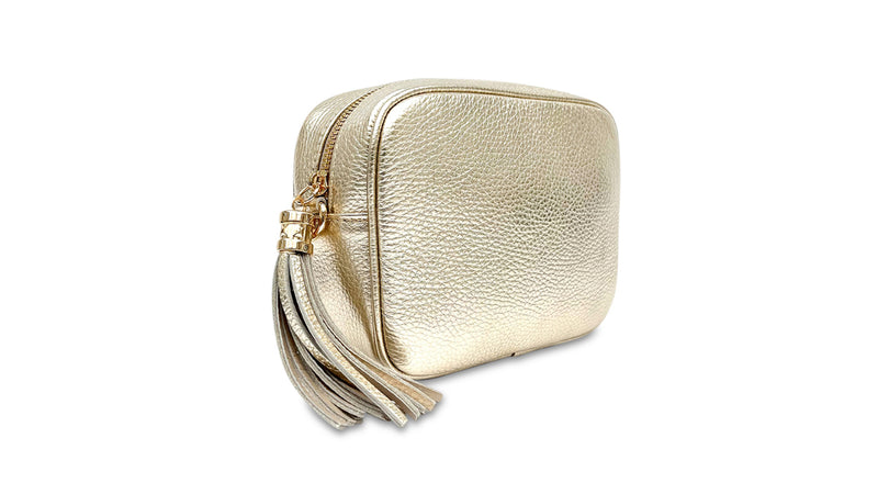 Gold Leather Bag & Strap with Personalised Purse