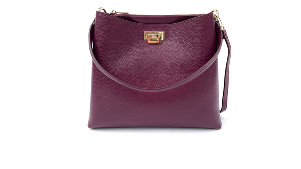 Plum Leather Tote Bag