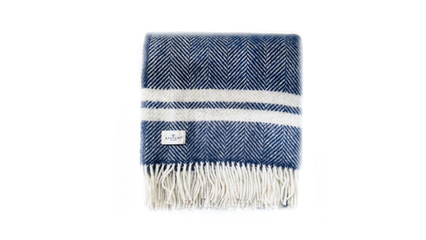 Navy Grey Wool Throw