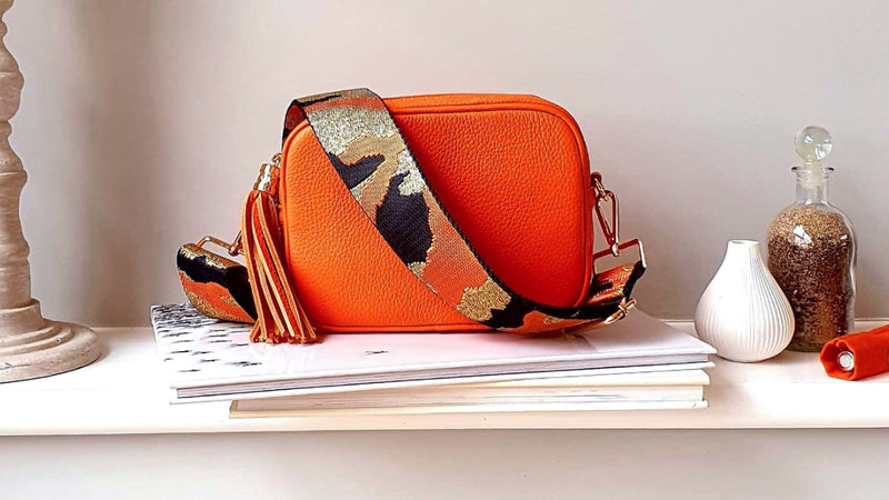 Orange Leather Bag & Strap with Personalised Purse