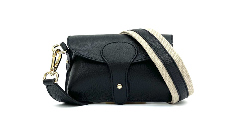 Small Black Leather Cross-Body Bag With Leather & Canvas Strap