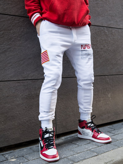 Embroidered USA Flag Patch Sweatpants Joggers - White 4318