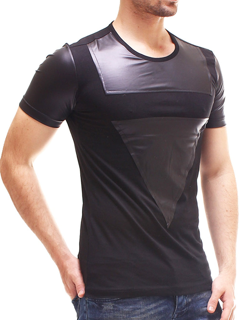 Men faux leather triangle t shirt black for Mens shirts with leather
