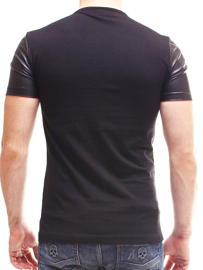 P&V Men Faux Leather Triangle T-Shirt - Black