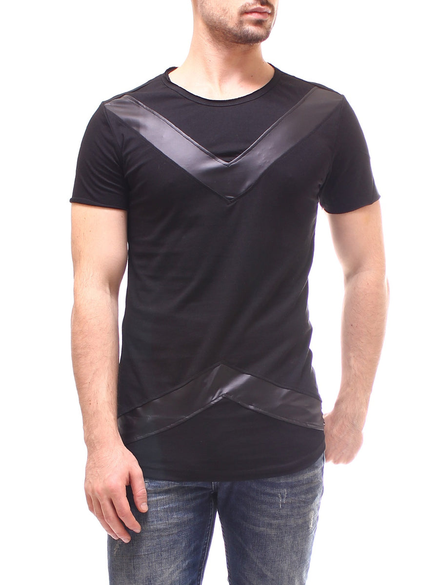 P&V Men Faux Leather V-Pat T-Shirt - Black