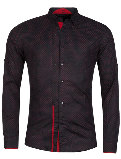 Y&R Men Casual Xpat Button Up L/S Shirt - Navy Blue / Red