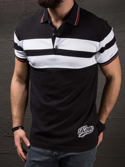 K&B Men Button Up 2 Bands Polo T-shirt - Black - FASH STOP