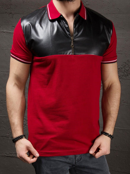 K&B Men Zip Up Faux Leather Top Polo T-shirt - Red