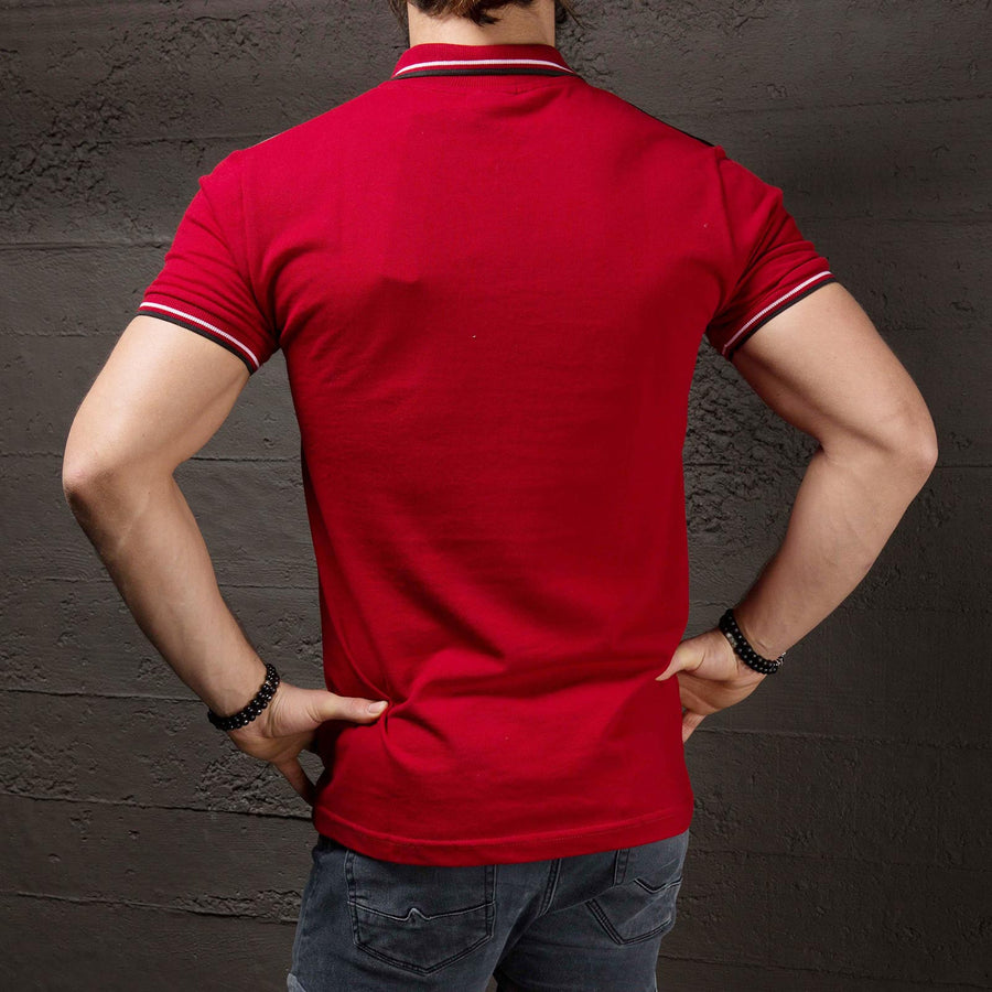 K&B Men Zip Up Faux Leather Top Polo T-shirt - Red - FASH STOP