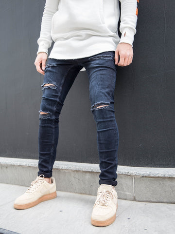 2Y Men Skinny Fit Levels Ripped Destroyed Jeans - Dark Blue