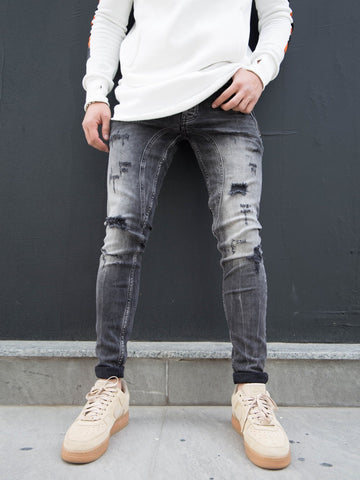 P&V Men Slim Fit Ripped Zipper Pockets Jeans - Washed Black