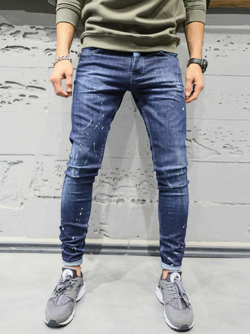 2Y Men Slim Fit Simplicity Paint Distressed Jeans - Dark Blue