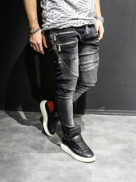 2Y Men Slim Fit Ripped Motor Biker Zippers Jeans - Washed Black