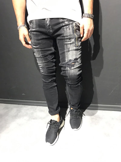 2Y Men Slim Fit Scratched Ripped Destroyed Zippers Jeans - Black - FASH STOP