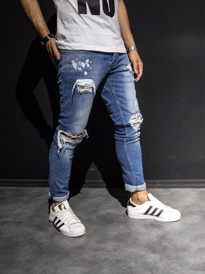 2Y Men Slim Fit Just Ripped Destroyed Jeans - Blue - FASH STOP