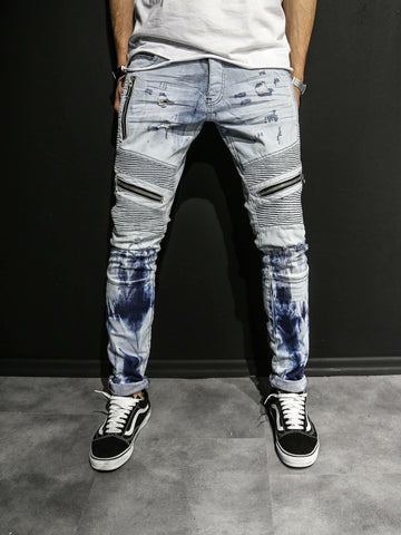 2Y Men Slim Fit Distressed Motor Biker Zippers Jeans - Washed Blue