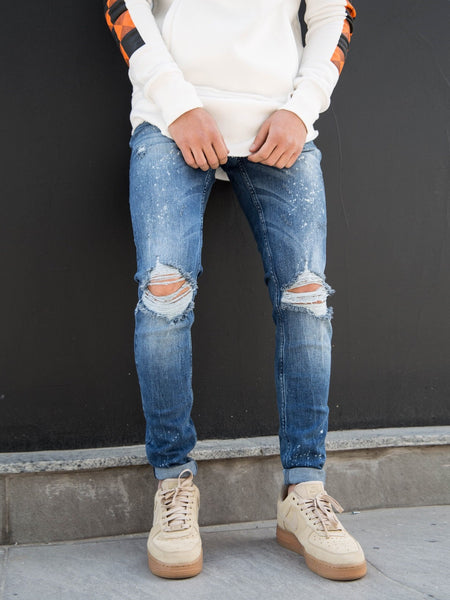 2Y Men Slim Fit Grim Ripped Destroyed Jeans - Blue