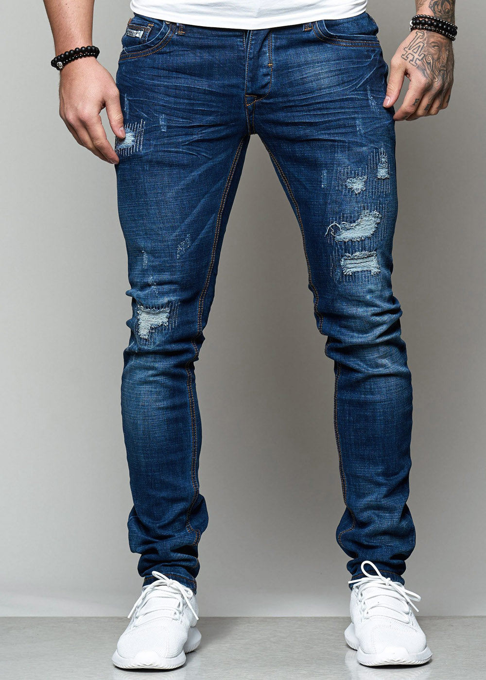 Scril Distressed Stitched  Jeans - Blue H0001