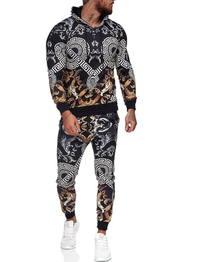 Troz Full Print TrackSuit Sweatpant Hoodie Sweater Jacket - Black X0038