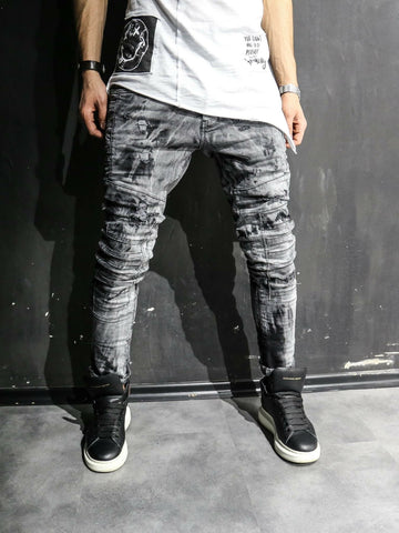 2Y Men Slim Fit Ripped Destroyed Paint Mini Bars Jeans - Washed Black