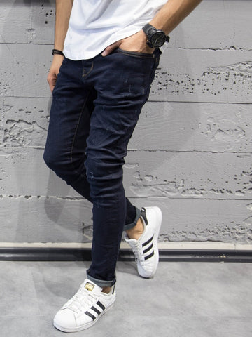 ADJ Men Skinny Fit Simply Distressed Jeans - Dark Blue