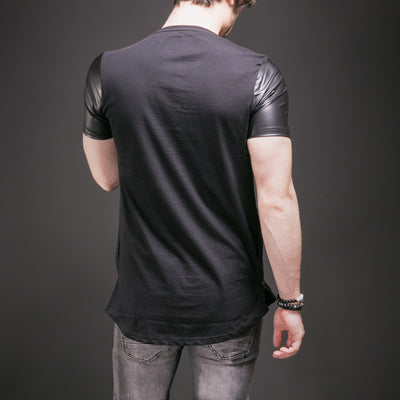 N&R Men NR7 Faux Leather Sleeves Side Zippers  T-shirt - Black