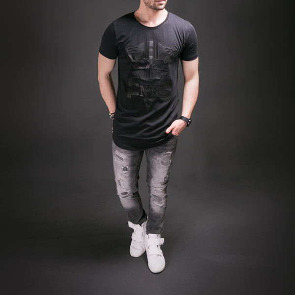 Men mean cat faux leather t shirt black for Faux leather what does it mean