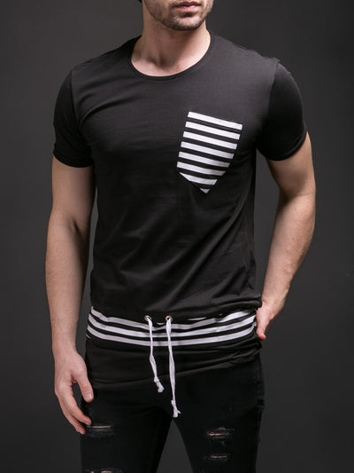 E1 Men Striped Lace T-shirt - Black - FASH STOP