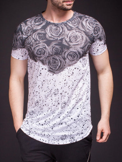 N&R Men Top Roses T-shirt - Gray - FASH STOP