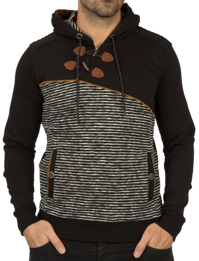 Y&R Mens Sailor Zip Hoodie Sweatshirt - Black
