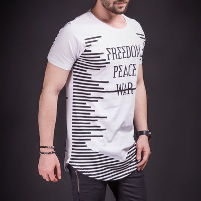 N&R Men Freedom Peace No War T-shirt - White - FASH STOP