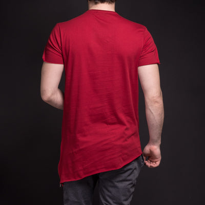 SAW Men Asymmetrical Zippers T-shirt - Deep Red