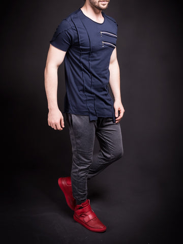 SAW Men Asymmetrical Zippers T-shirt - Navy Blue