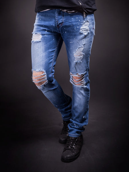 K&B Men Slim Fit Simply Ripped Stains Jeans 291- Blue