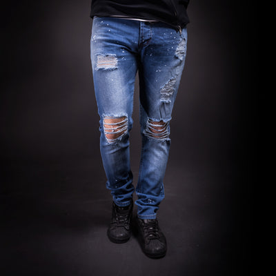 K&B Men Slim Fit Simply Ripped Stains Jeans 291- Blue - FASH STOP