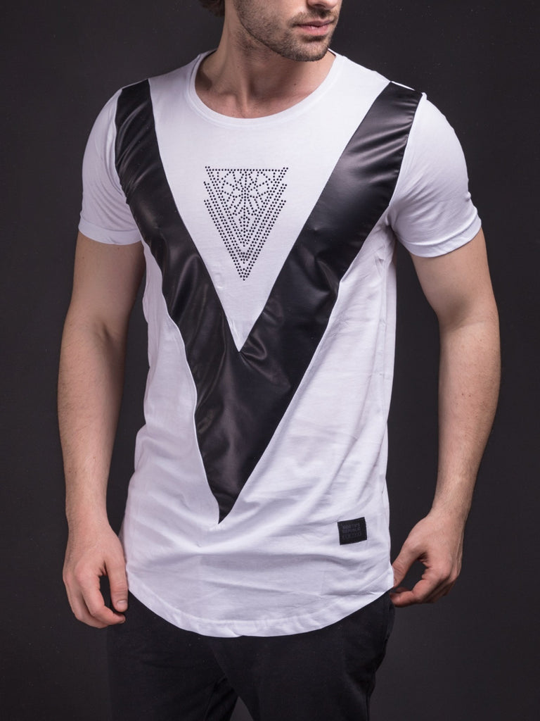 Men point down v faux leather t shirt white for Mens white leather shirt
