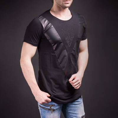 N&R Men Point Down V Faux Leather T-shirt - Black - FASH STOP