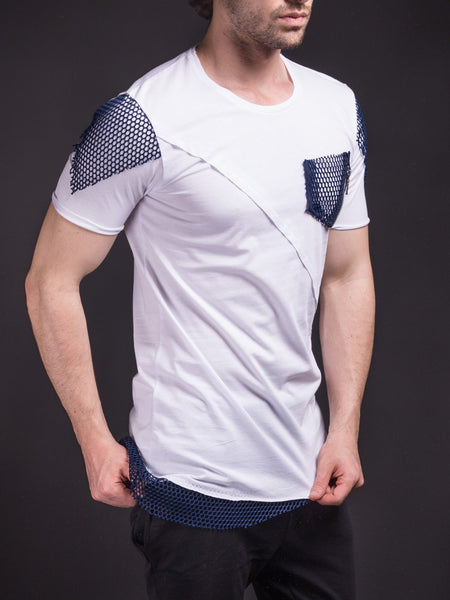 D&H Men Asymmetrical Net Zipper T-shirt - White