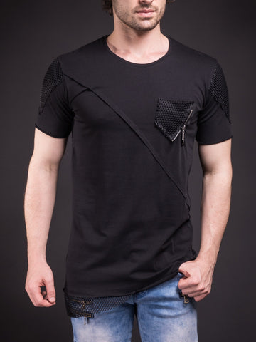 D&H Men Asymmetrical Net Zipper T-shirt - Black