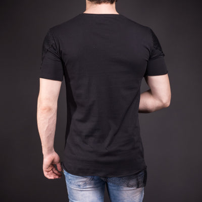 D&H Men Asymmetrical Net Zipper T-shirt - Black - FASH STOP