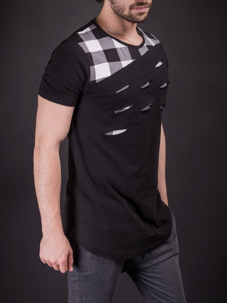 N&R Men Plaid Top Ripped T-shirt - Black