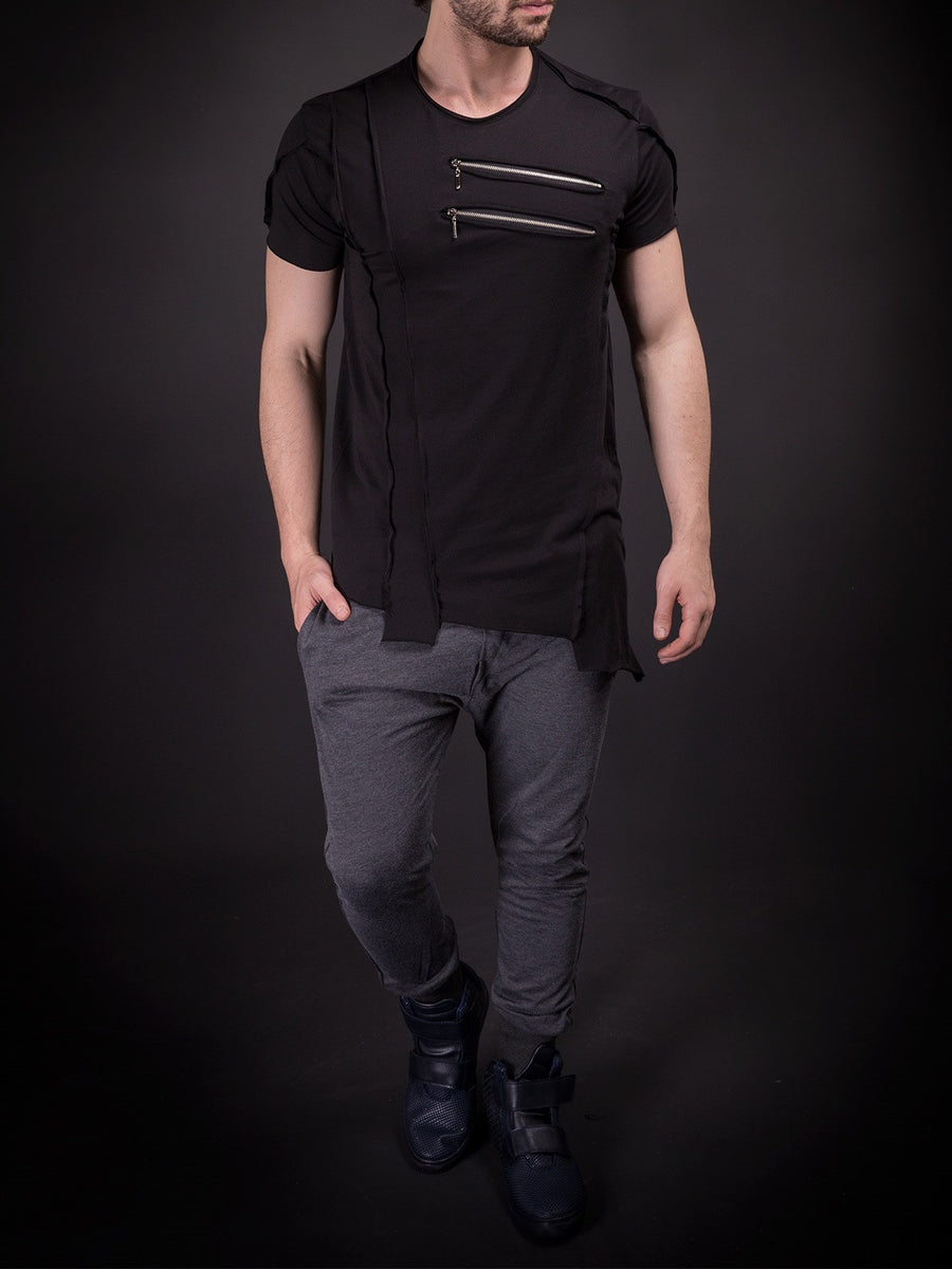 SAW Men Asymmetrical Zippers T-shirt - Black