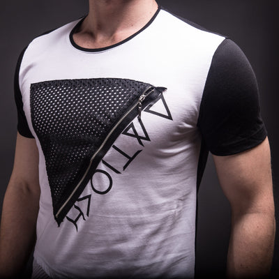 E1 Men Zip Triangle Mesh T-shirt - White - FASH STOP