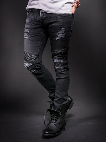 D&H Men Skinny Fit Biker  Ripped Faux Leather Knees Jeans - Black