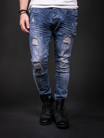 D&H Men Slim Fit Wrinkled Ripped Distressed Jeans - Blue