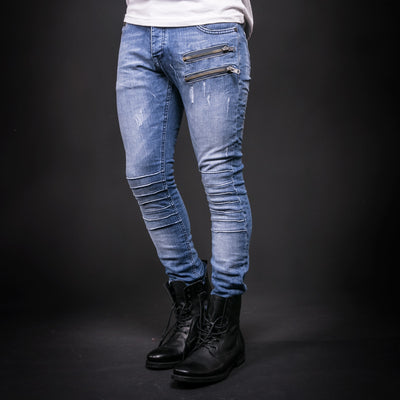 ADJ Men Skinny Fit 2 Zippers Distressed Jeans -  Blue - FASH STOP
