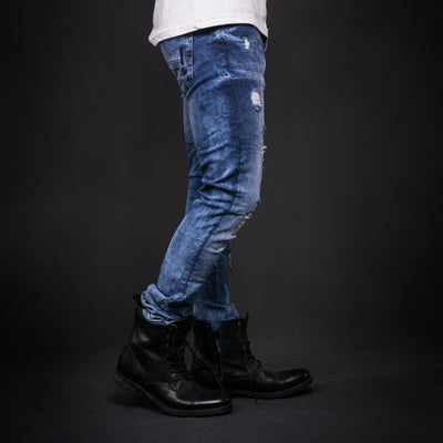 2Y Men Slim Fit Ripped Destroyed Black Star Jeans - Blue - FASH STOP