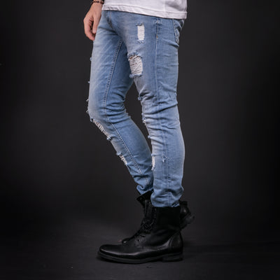 ADJ Men Slim Fit Ripped Destroyed Jeans - Light Blue - FASH STOP