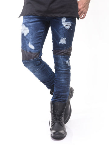 D&H Men Slim Fit Biker  Ripped Faux Leather Knees Jeans - Blue