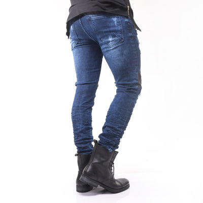 D&H Men Slim Fit Biker  Ripped Faux Leather Knees Jeans - Blue - FASH STOP